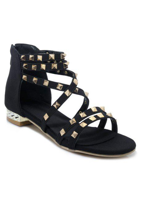 new Gladiator Sandals with Studs - BLACK 37 Mobile