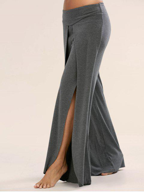 shop High Slit Palazzo Pants - DEEP GRAY M Mobile