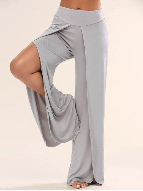 lady High Slit Palazzo Pants - GRAY M Mobile
