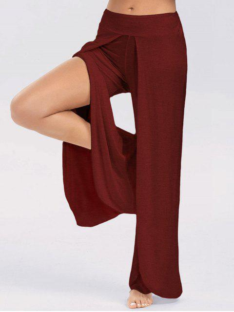 fashion High Slit Palazzo Pants - WINE RED 2XL Mobile