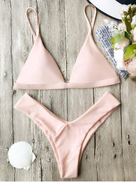 Soft Gepolstert Spaghetti Riemchen Tanga-Bikini-Set - Rosa L Mobile