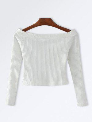 Knitted Ribbed Off The Shoulder Top - White S