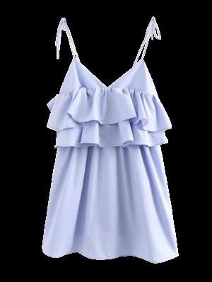 Vestido Casual Con Volantes Estratificados - Azul Claro S