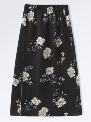 Falda Floral A-Line De Popeline - Negro L