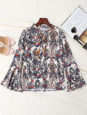 Print Bow Tie Feather Flare Sleeve Blouse - Multicolor M