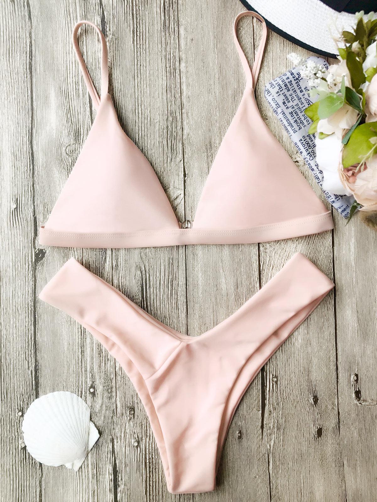 Soft Pad Spaghetti Straps Thong Bikini Set