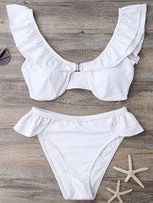 Ruffles Scoop Neck Bathing Suit - White M
