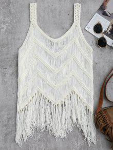 Crochet Tassels Cover Up Tank Top - White M