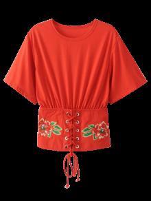 Kimono Bordado Con Cordones Arriba - Rojo L