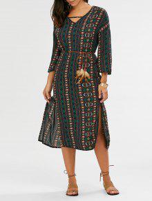 فستان بوهيمي طباعة قبلية انقسام - الأرجواني الأزرق Xl