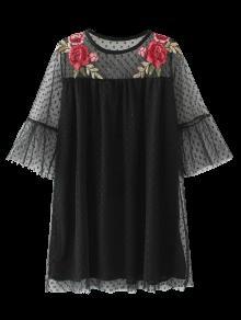 Vestido Trasparente De Túnica Con Bordado - Negro L