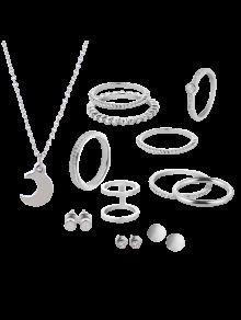 Conjunto De Joyas De Luna De Círculo De Diamantes - Plata