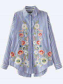 Floral Embroidered Back Slit Shirt - Blue L