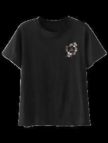 Cute Floral Embroidered T-Shirt - Black L