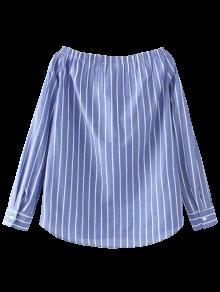 Striped Off The Shoulder Shirt - Blue S