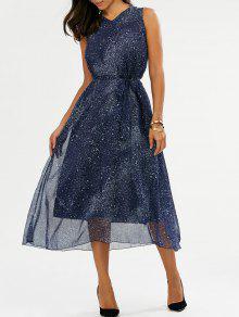 الخامس الرقبة غالاكسي طباعة ميدي فستان من الشيفون - أزرق M