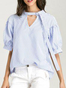 Oversized Choker Cut Out Blouse - Blue Stripe Xl