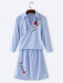 Floral Bordado Wrap Vestido De Manga Larga - Azul Claro M