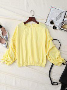 Ruched Cuff Sleeve Elastic Hem Top - Yellow L