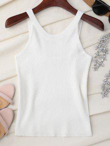 High Neckline Knitted Tank Top - White
