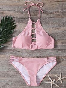 Ladder Cutout High Neck Bathing Suit - Pink S