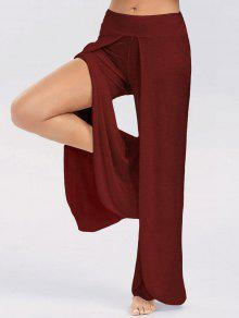 High Slit Palazzo Pants - Wine Red 2xl