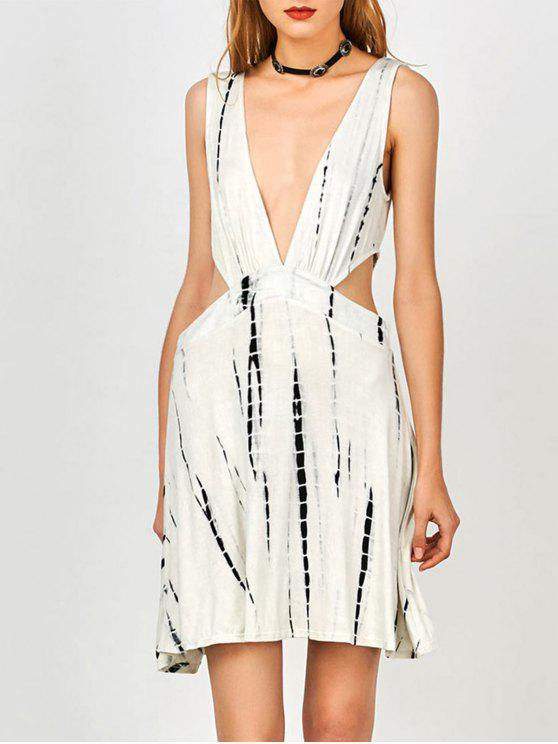 best Tie Dye Plunge Open Side Tank Dress - WHITE L