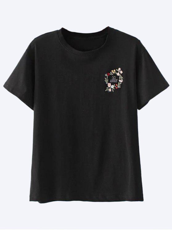 Camiseta bordada algodón - Negro S