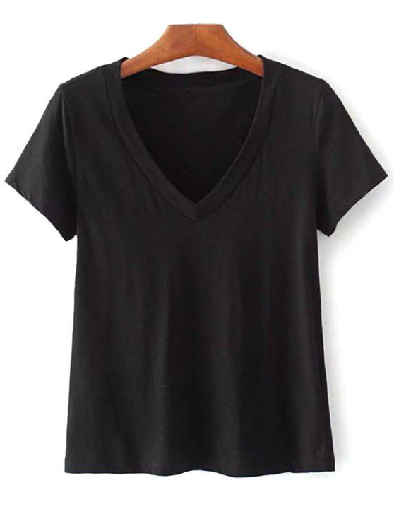 Camiseta de algodón con cuello en V - Negro Única Talla
