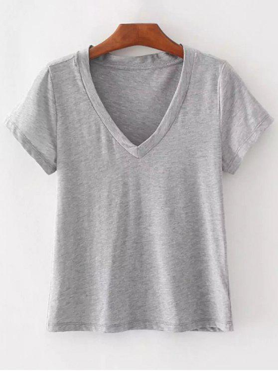 chic Cotton V Neck T-Shirt - GRAY ONE SIZE