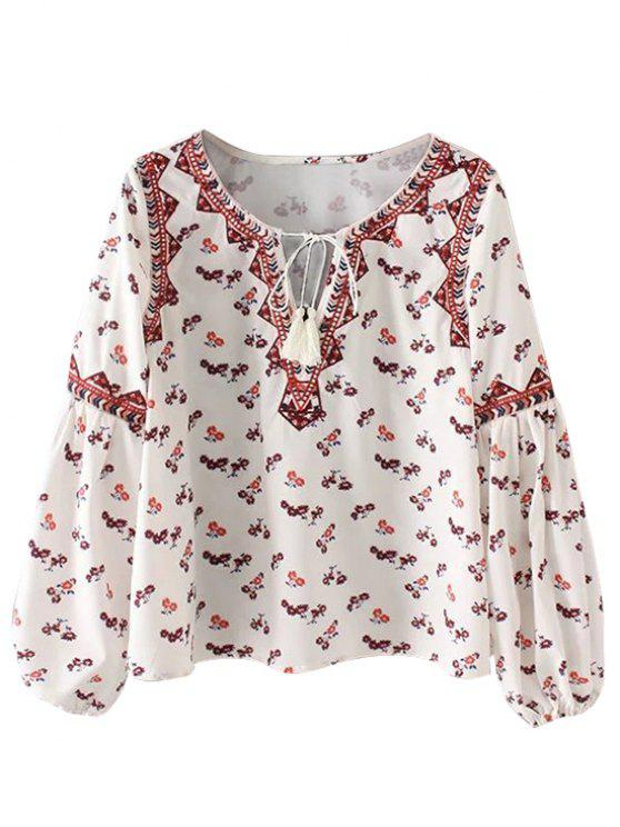 women's String Tiny Floral Blouse - WHITE L