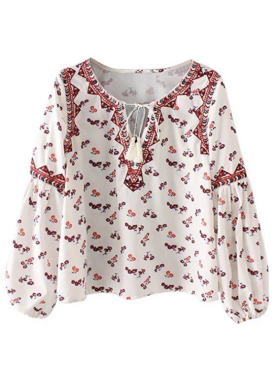 ladies String Tiny Floral Blouse - WHITE M