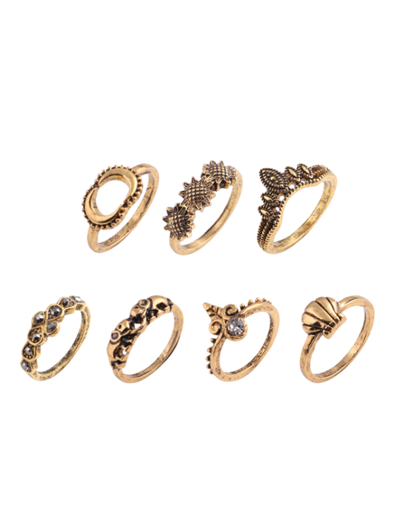 fancy Elephant Sun Floral Moon Ring Set - GOLDEN