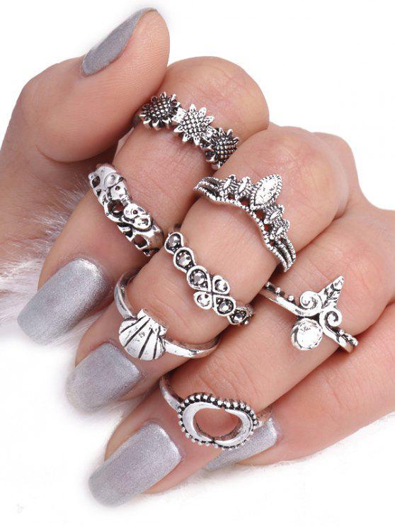 Elefante Sun Floral Luna anillo conjunto - Plata
