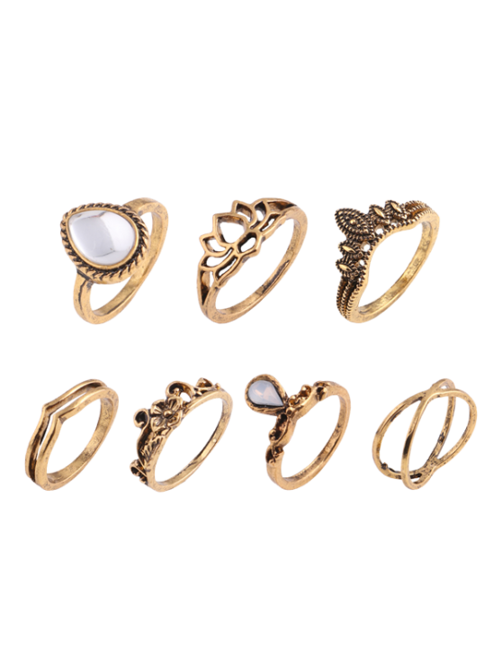 Teardrop Folha de flores Cigana Ring Set - Dourado
