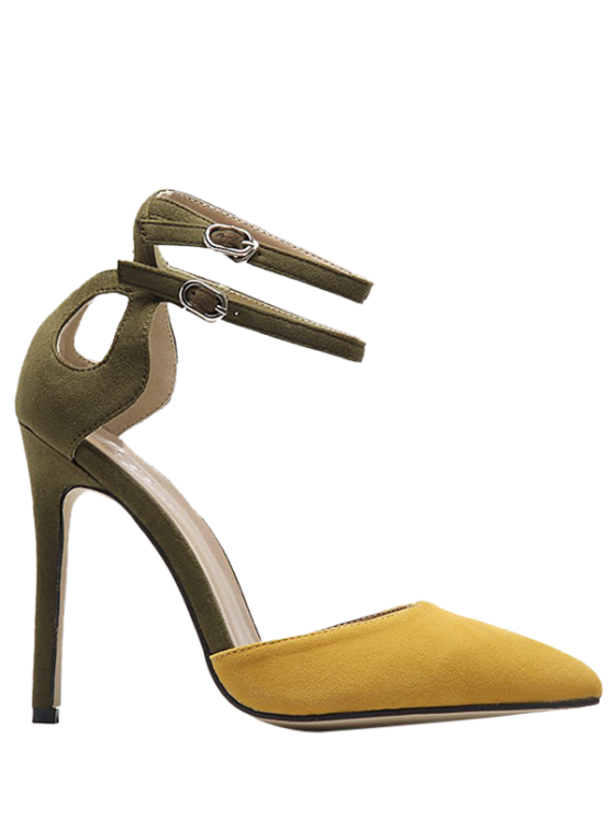 trendy Double Buckle Strap Two Piece Pumps - GINGER 39