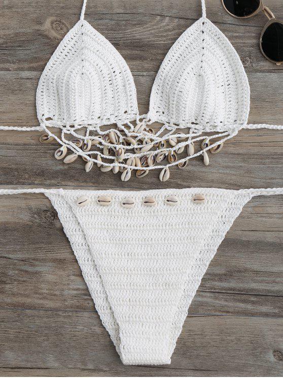 women Embellished Crochet String Bikini Set - WHITE ONE SIZE