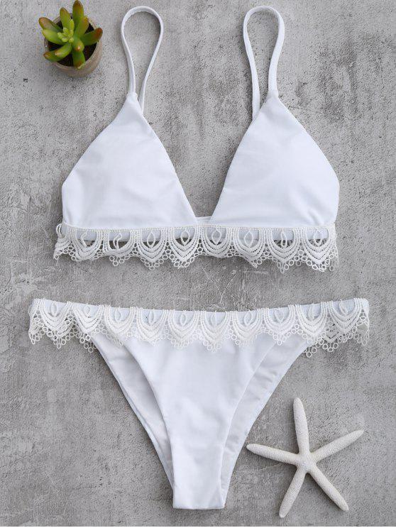 7fa267caa0e 21% OFF] 2019 Lace Trim Cami Thong Bikini Set In WHITE | ZAFUL