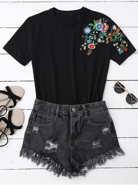 lady Floral Embroidered Short Sleeve T-Shirt - BLACK M