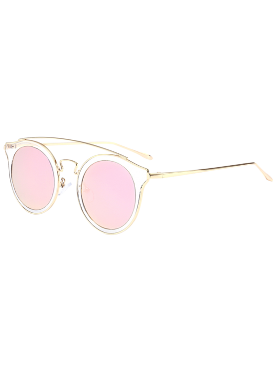 c2182772a0ecf 13% OFF  2019 Cambered Metal Crossbar Cat Eye Mirrored Sunglasses In ...