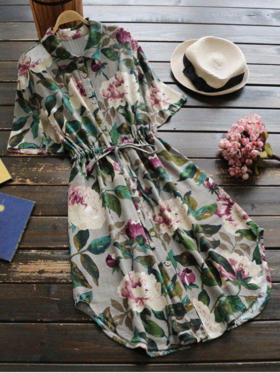 womens Button Up Floral Drawstring Waist Linen Dress - GREEN ONE SIZE