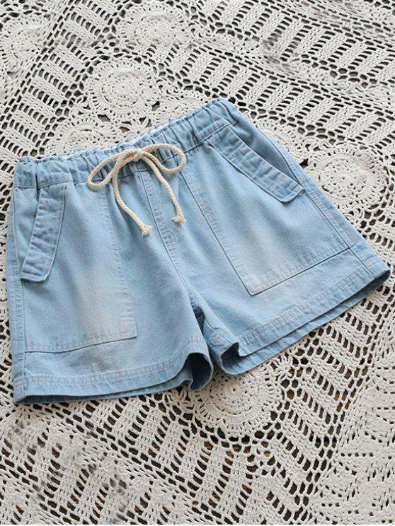 sale Drawstring Denim Shorts With Pockets - LIGHT BLUE ONE SIZE