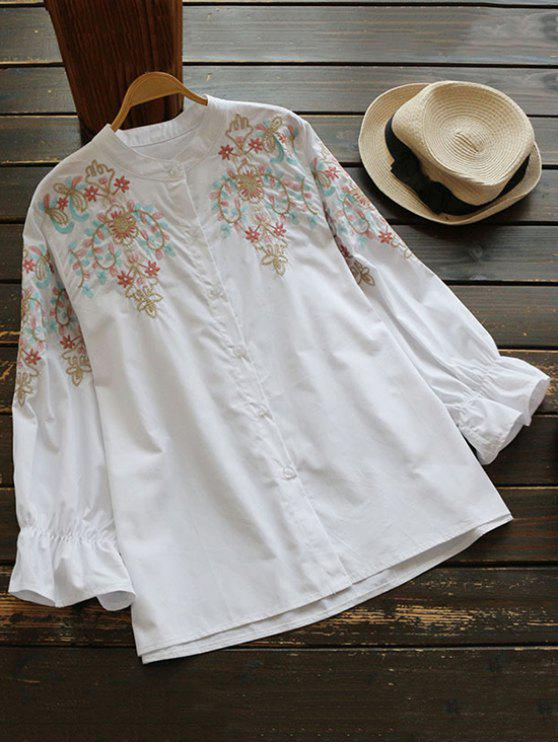 shop Oversized Embroidered Puff Sleeve Shirt - WHITE S