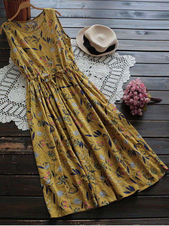 shops Flower Drawstring Waist Sleeveless Linen Dress - GINGER ONE SIZE
