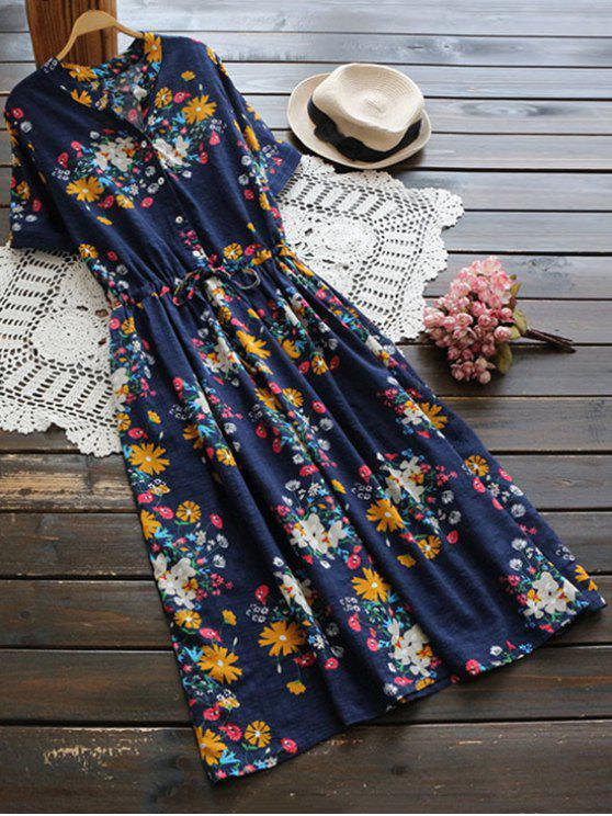 buy Flower Buttoned Drawstring Waist Shirt Dress - CERULEAN ONE SIZE