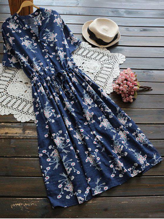 Vesitdo Camisero de Flores con Botón con Cordón en Cintura - Azul Única Talla