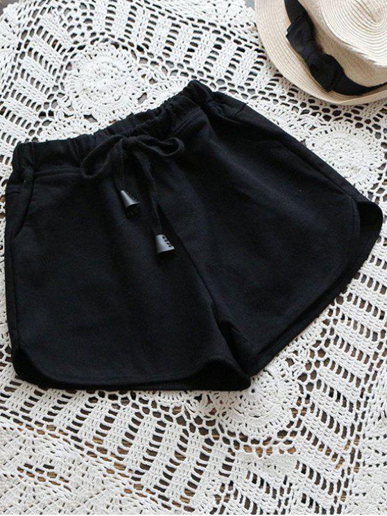 buy Elastic Drawstring Waist Denim Hot Shorts - BLACK ONE SIZE