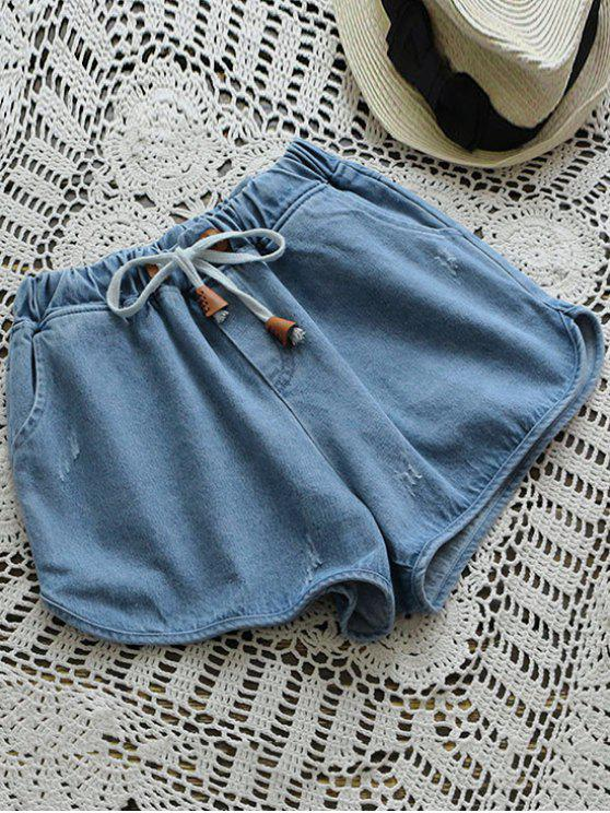 womens Elastic Drawstring Waist Denim Hot Shorts - DENIM BLUE ONE SIZE