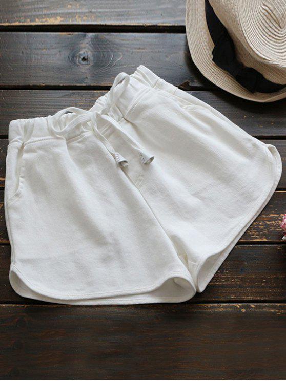 affordable Elastic Drawstring Waist Denim Hot Shorts - WHITE ONE SIZE
