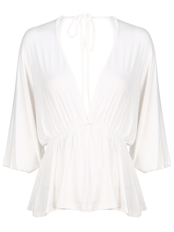 chic Plunge Neck Dolman Sleeve Shirred Blouse - WHITE M